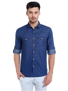 Printed Shirt In Slim Fit, s,  blue