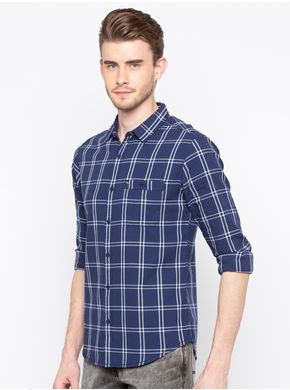 Spykar Regular Slim Fit Shirts, m,  navy