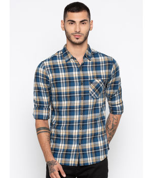 Spykar Checked Slim Fit Shirts,  navy, m