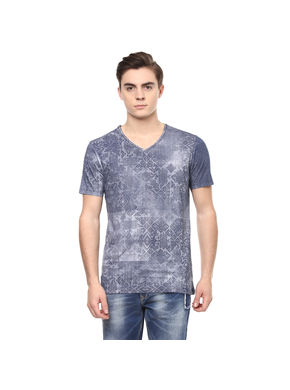 Geometric V Neck Printed T-Shirt, l,  navy