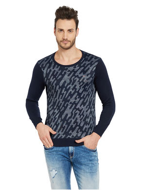 Printed Round Neck T-Shirt, l,  navy