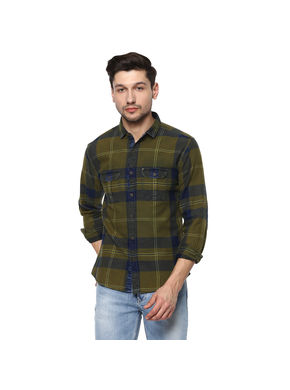Spykar Striped Slim Fit Shirts, m,  green