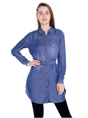 Denim Collar Shirt, s,  dark blue