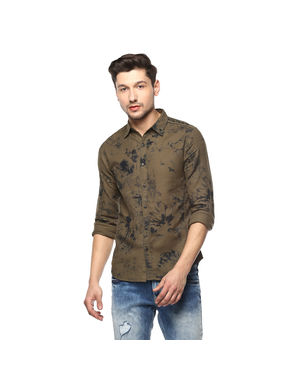 Printed Cut Away Shirt,  olive, m