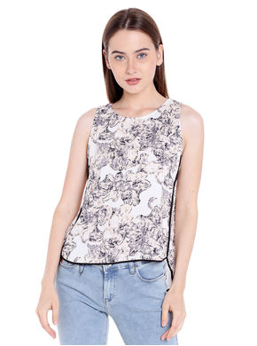 Printed Round Neck Top, xl,  white