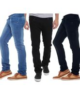Stylox Stylish Regular Slim Fit Pack Of 3 Cotton Jeans For Men, 36