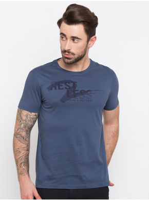 Spykar Prints Slim Fit T-Shirts,  denim blue, m