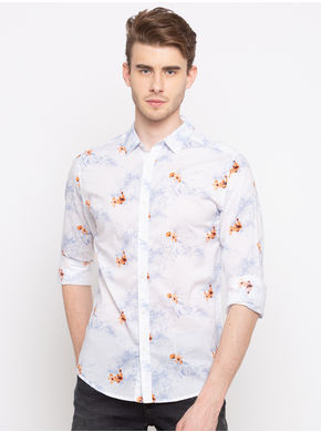Spykar Regular Slim Fit Shirts,  peach, l