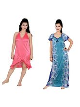 Kismat Fashion Combo Of Two Nighty (Kn12-21), multicolor