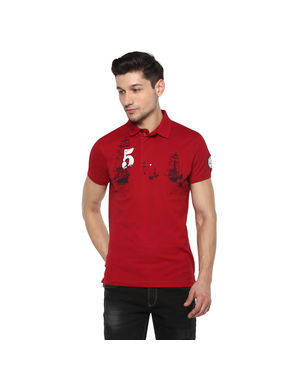 Solid Polo T-Shirt,  red, m