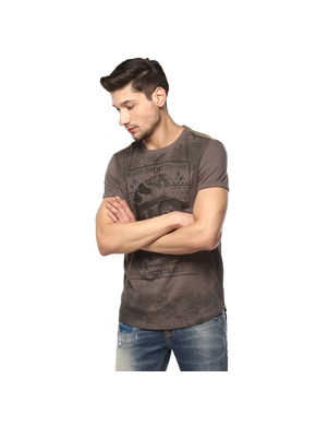 Solid Round Neck T-Shirt, m,  slate