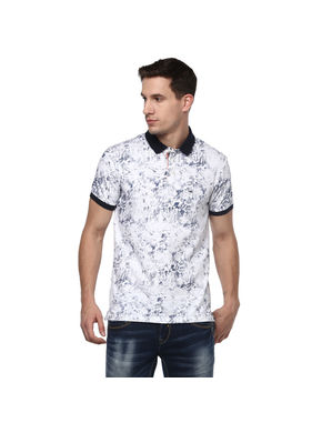 Printed Polo T-Shirt, l,  white