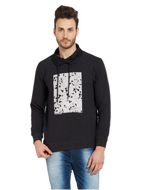 Printed Solid Sweatshirt, s,  black