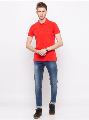 Spykar Polo Solids Slim Fit T-Shirts,  coral, m