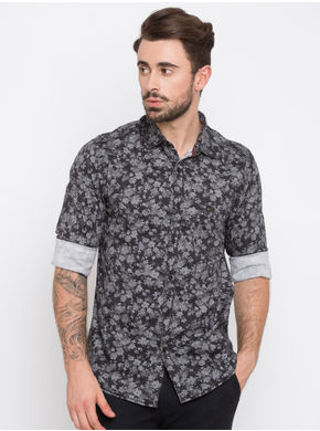 Spykar Prints Slim Fit Shirts,  black, m