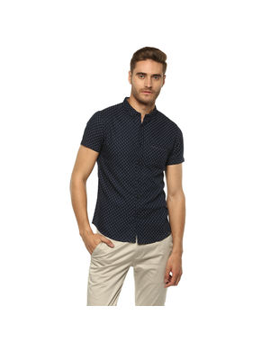 Printed Cut Away Shirt,  navy, l