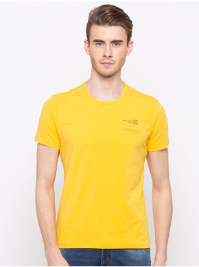 Spykar Round Neck Slim Fit T-Shirts, xl,  yellow