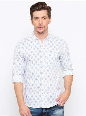 Spykar Slim Collar Prints Slim Fit Shirts,  white, l