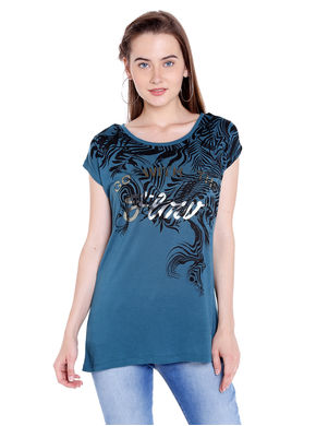 Solid Round Neck T-Shirt, s,  green