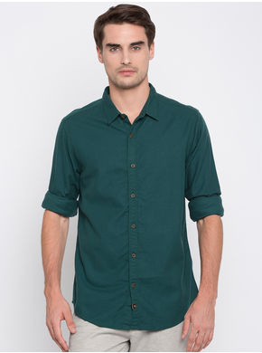 Spykar Solids Slim Fit Shirts, m,  bottle green