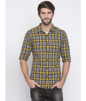 Spykar Checked Slim Fit Shirts, m,  yellow