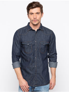 Spykar Regular Collar Solids Slim Fit Shirts,  indigo, m
