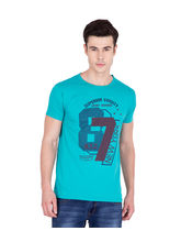American-Elm Turquoise Cotton Printed Round Neck T-Shirt, turquoise, m