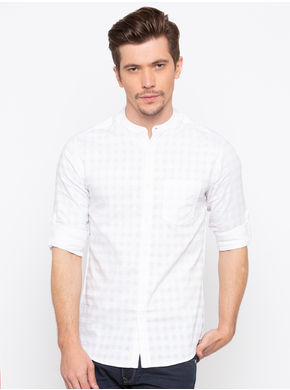 Spykar Mandarin Collar Slim Shirts,  white, xl