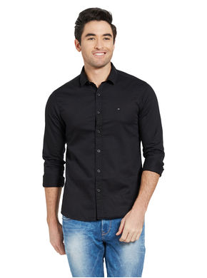 Solid Shirt In Slim Fit,  black, xl