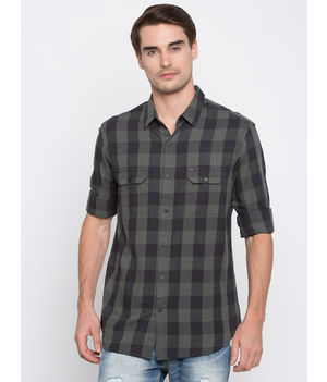 Spykar Checked Slim Fit Shirts, m,  cement