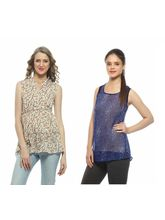 And You Multi and Blue Printed Women Top, xl