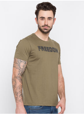 Spykar Prints Slim Fit T-Shirts,  olive, m