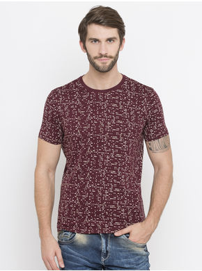 Spykar Solid Slim Round Neck T-Shirts, xl,  maroon