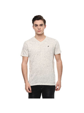 Solid V Neck T-Shirt, s,  ivory