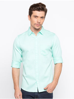 Spykar Regular Slim Fit Shirt,  mint, m