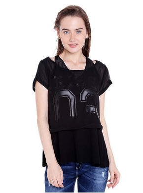 Solid Round Neck Top,  black, xl