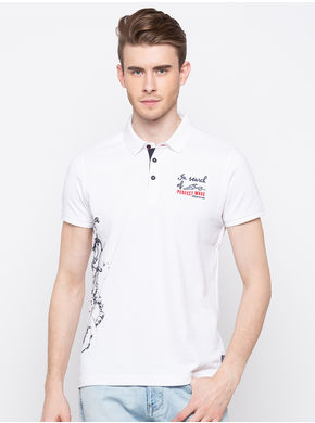 Spykar Polo Slim Fit T-Shirts, l,  white
