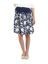 American-Elm Navy Blue Printed Skirt For Women, xxl
