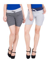 American-Elm Women's Cotton Short Pants (Pack Of 2) Dark Grey, Grey, xxl