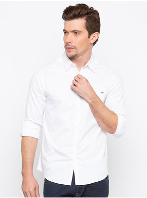 Spykar Regular Collar Slim Fit Shirts,  white, m