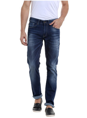 Spykar Low Rise Narrow Fit Jeans, 30,  dark blue