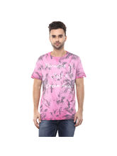 Printed Round Neck T-Shirt, l, pink