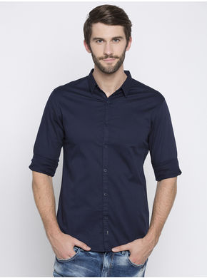 Spykar Solid Slim Fit Shirts,  navy, xl
