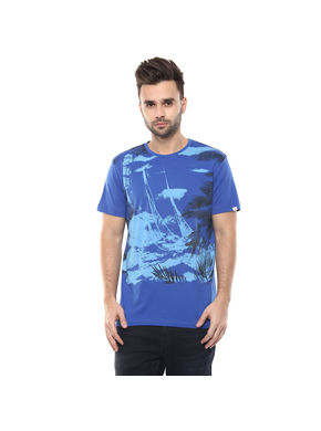 Printed Round Neck T-Shirt,  royal blue, m