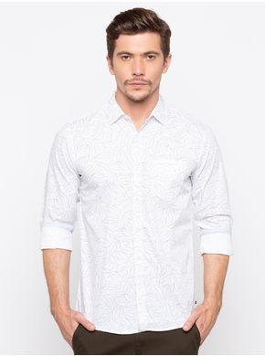 Spykar Regular Collar Slim Shirts,  white, l