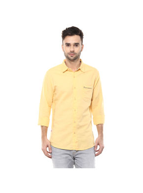 Solid Cutaway Slim Fit Shirt,  mustard, l