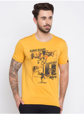 Spykar Yellow Prints Slim Fit T-Shirts,  yellow, l