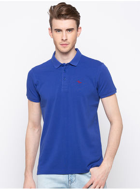 Spykar Polo Slim Fit T-Shirts,  royal blue, m