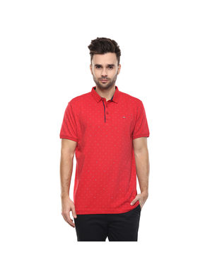 Spykar Printed Polo Slim Fit T-Shirt, s,  red