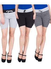 American-Elm Women's Short Pants (Pack Of 3) Grey, Dark Grey, Black, xl